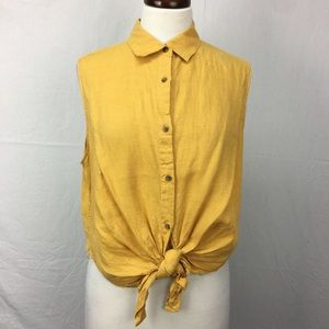 Uniqlo Mustard Yellow Button Down Tie Hem Top